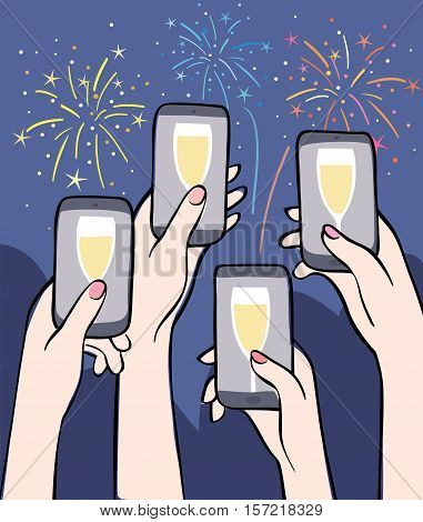 Virtual Toast - cheering people and fireworks