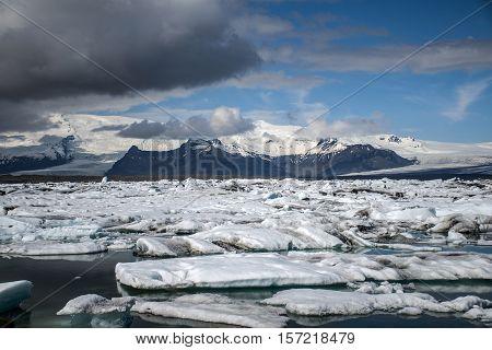 Iceland glacier lake Jokulsarlon glacial lagoon nature with snow landscape Vatnajokull 2