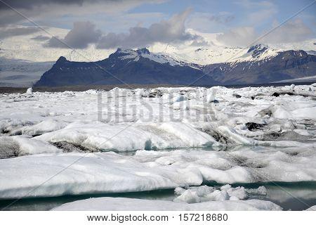 Iceland glacier lake Jokulsarlon glacial lagoon nature with snow landscape Vatnajokull 4