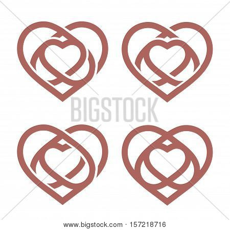 Isolated abstract monoline heart logo set. Love logotypes collection. St. Valentines day icon. Wedding symbol. Amour sign. Cardiology emblem. Vector illustration