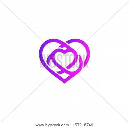 Isolated purple abstract monoline heart logo. Love logotypes . St. Valentines day icon. Wedding symbol. Amour sign. Cardiology emblem. Vector illustration