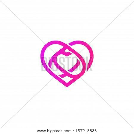 Isolated pink abstract monoline heart logo. Love logotypes. St. Valentines day icon. Wedding symbol. Amour sign. Cardiology emblem. Vector illustration