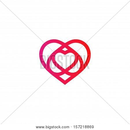 Isolated crimson abstract monoline heart logo. Love logotypes. St. Valentines day icon. Wedding symbol. Amour sign. Cardiology emblem. Vector illustration