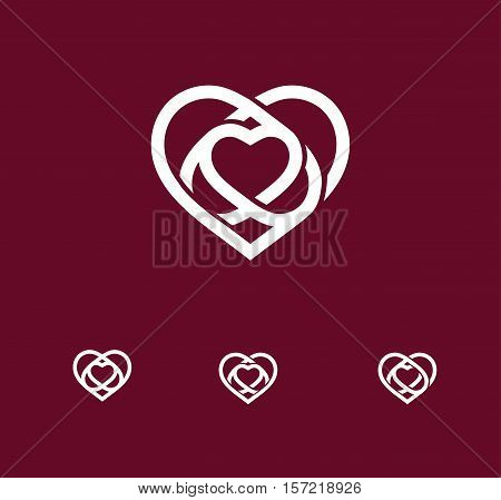 Isolated white abstract monoline heart logo set. Love logotypes collection. St. Valentines day icon. Wedding symbol. Amour sign. Cardiology emblem. Vector illustration