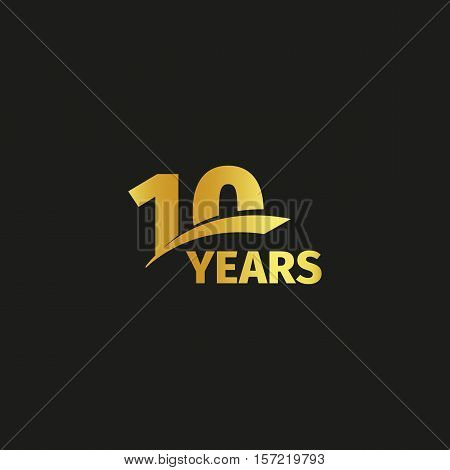 Isolated abstract golden 10th anniversary logo on black background. 10 number logotype. Ten years jubilee celebration icon. Tenth birthday emblem. Vector illustration