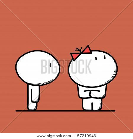Cute man and woman have a fight or quarrel, angry and offended girl with cross hands on the brown background. Conflict and divorce - cartoon vector illustration.