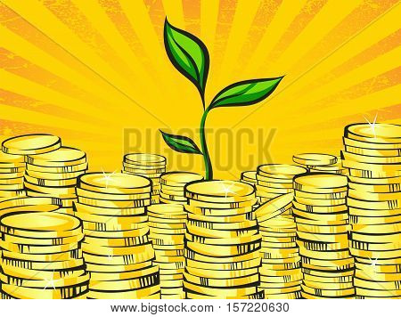 Golden money stacks and wealth tree sprout. Retro vector illustration of the shining gold coins and little green plant. Investment or business success concept. Pop art treasure image.