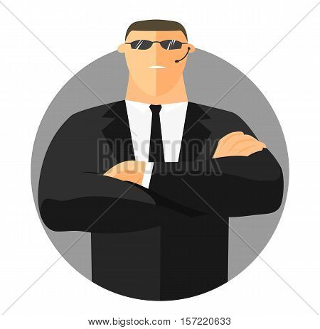 Security sign safety icon flat design. Security guard with crossed hands in suit. Vector illustration