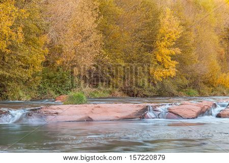 a fast flowing stream in fall near Sedona Arizona