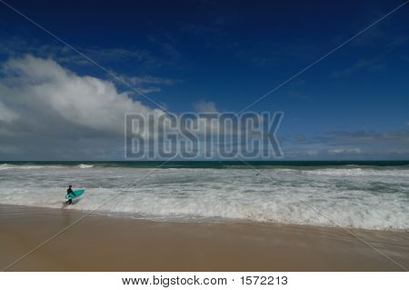 Surfer With Green Board
