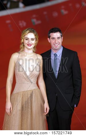 Rome Italy - October 16 2016: The director Adam Leon and actress Grace Van Patten on the red carpet of the 11th edition of the Rome Film Festival to present the film 'Tramps'