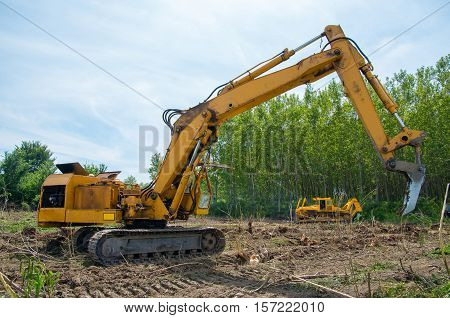 Mechanical Site Preparation for Forestry. Excavator and bulldozer clearing forest land.