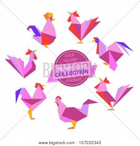 Cartoon cock icon set. Abstract rooster sign. Freehand drawn stylized origami chicken emblem. Template geometric logo design. Design element rectangular shape hen symbol isolated. Vector illustration