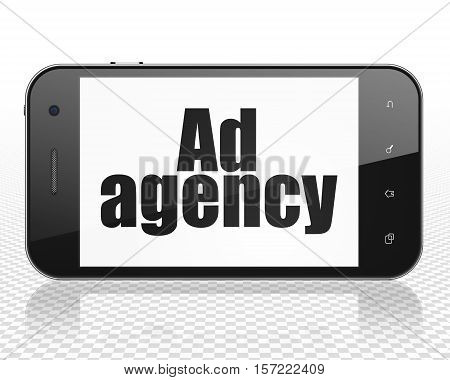 Advertising concept: Smartphone with black text Ad Agency on display, 3D rendering