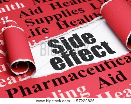 Medicine concept: black text Side Effect under the curled piece of Red torn paper with  Tag Cloud, 3D rendering