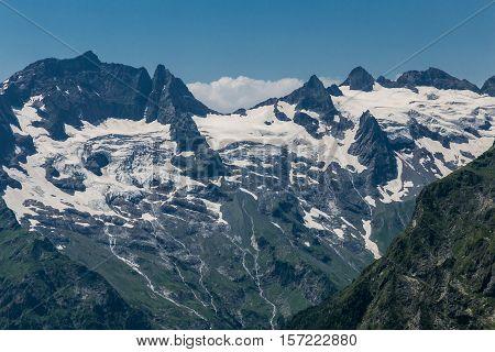 White snowcaps on cliffs in mountain Abkhazia