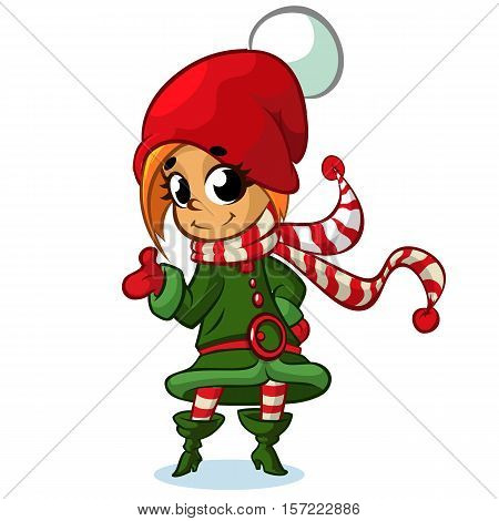 Christmas girl elf character in Santa hat. Illustration of Christmas greeting card with cute girl elf on simple white background.