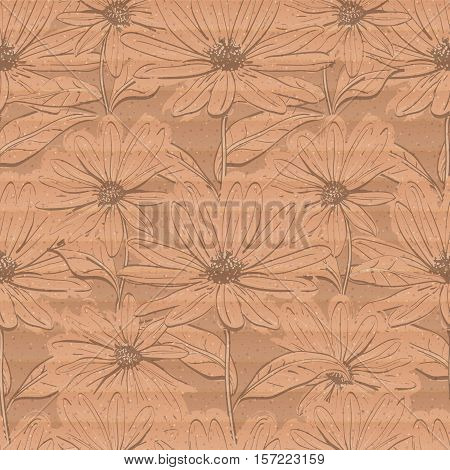 Creative floral wallpaper, Seamless pattern of chamomiles on a cardboard background, Hand-drawn daisies. Pastel delicate brown paper texture, Vector illustration