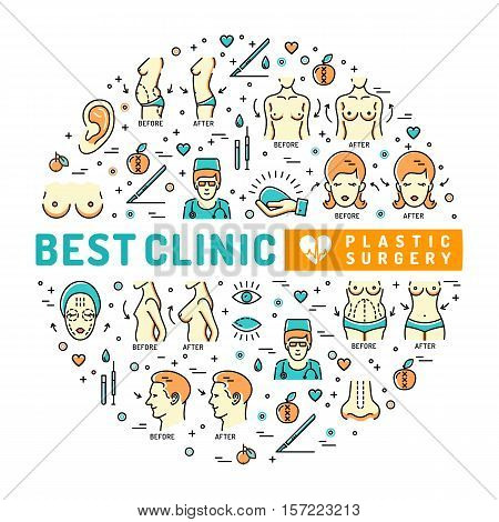 Medical vector circle colorful template, Plastic Surgery linear icons, Infographics medical flat symbols. Business concept Health and Beauty, Vector illustration