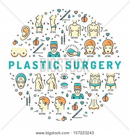 Colorful Flat infographics Plastic Surgery, Beauty and Health, space for text. Medical linear icons: breast augmentation, liposuction, face and body cosmetology. Vector illustration