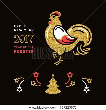 Modern card 2017 Happy New Year. Chinese Zodiac Year of the Rooster 2017, Holiday golden symbols on a dark background. New Year isolated flat symbols, Vector illustration