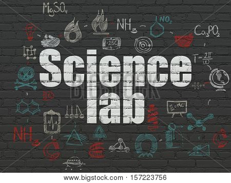 Science concept: Painted white text Science Lab on Black Brick wall background with Scheme Of Hand Drawn Science Icons