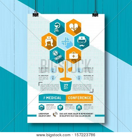 Medical Conference Poster, Flat infographics, business style. Linear icons Medicine and Health. Placard, banner or flyer for medical clinics, Vector illustration