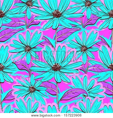 Bright floral seamless pattern, wallpaper of chamomiles, Hand-drawn daisies. Bright turquoise flowers on purple background. Juicy textile coloring, Vector illustration