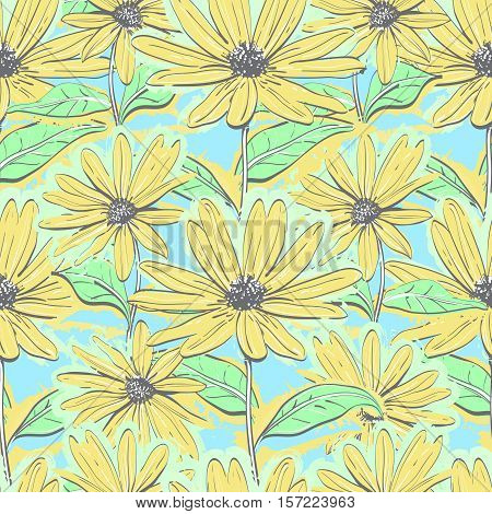 Seamless pattern floral of chamomiles, Autumn flowers yellow feverfew wallpaper, Hand-drawn daisies. Pastel delicate background, Vector illustration