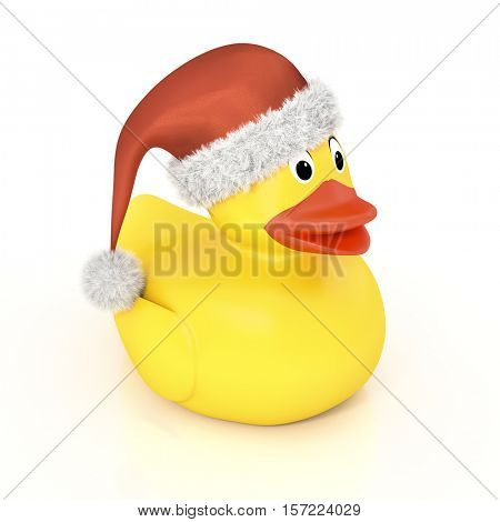 3d rendering of a yellow rubber ducky with a christmas hat