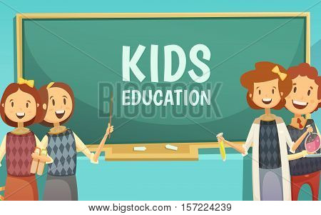 Elementary and middle school kids education cartoon poster with happy children in classroom by chalkboard abstract vector illustration