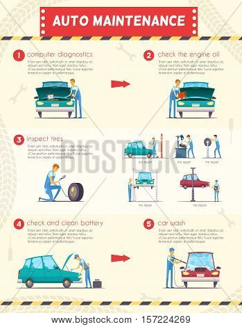 Auto maintenance diagnostics and repair  service retro cartoon infographic poster with engine oil and battery replacement  vector illustration