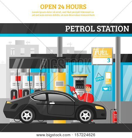 Petrol station flat composition with worker at car and open 24 hours advertising vector illustration