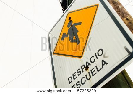 Traffic Sign On A Pole With Inscription
