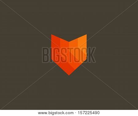 Fox color logo design. Foxy shield vector logotype