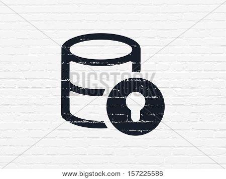 Database concept: Painted black Database With Lock icon on White Brick wall background