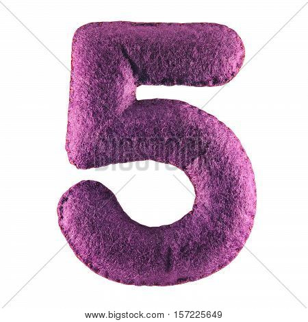 Number 5 From Purple Felt