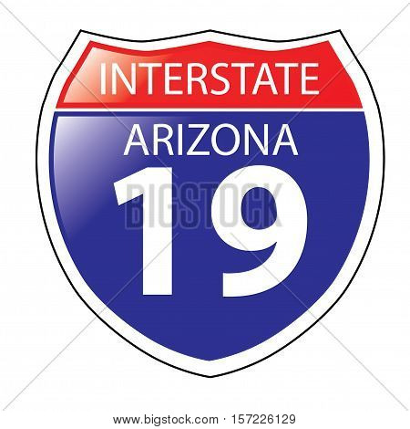 Layered artwork of Arizona I-19 Interstate Sign