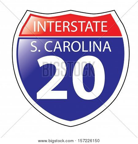 Layered artwork of South Carolina I-20 Interstate Sign