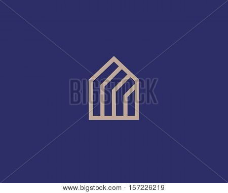 Abstract house logo design template. Premium linear real estate finance sign. Universal business home foundation solid vector icon logotype