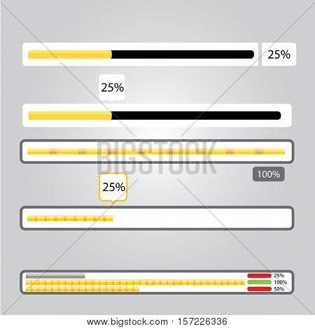 orange preloaders and progress loading bars. vector illustration.