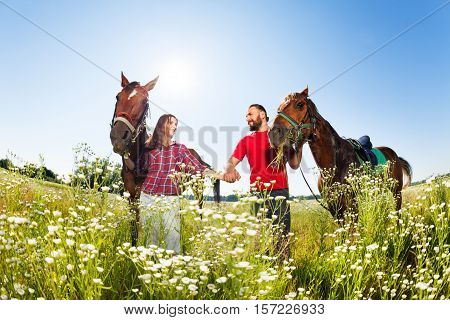 Loving couple walking hand in hand in flowery meadows, holding their bay horses by bridles at sunny day