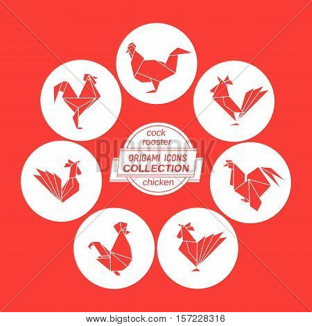 Cartoon cock icon set. Abstract red rooster sign silhouette in white circle. Freehand drawn stylized origami chicken emblem. Template geometric logo design. Design vector element hen symbol