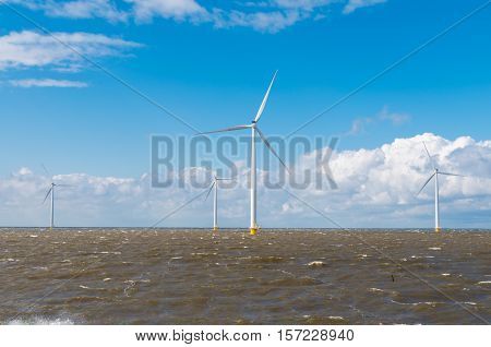 offshore windmill farm in the IJsselmeer at Urk Netherlands