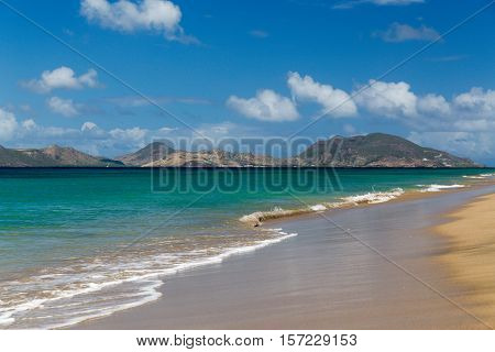 St Kitts taken from a beach on St Nevis in the Caribbean