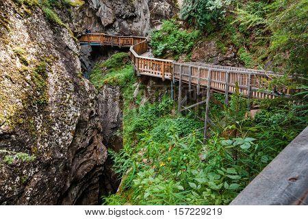Horizontal Shot Of Path In Gorner Gorge