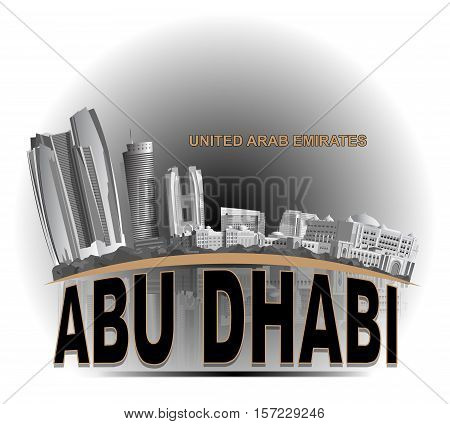 Vector image of Abu dhabii waterfront with reflection