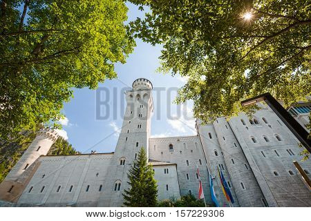 Close View Of Neuschwanstein Castle With Trees