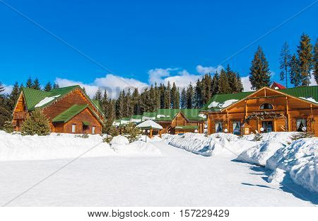 Bukovel the largest ski resort in Eastern Europe Ukraine Carpathian Mountains for sports business leisure and health. Winter seasonal view.