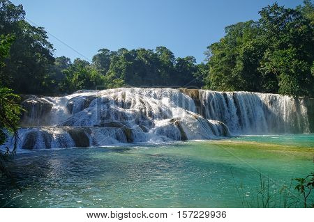 Agua Azul waterfalls in Chiapas state,  Mexico